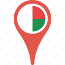 country, flag, madagascar, map, pin icon