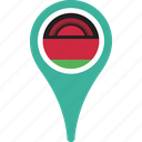flag, malawi, malawi flag pin, map, pin icon