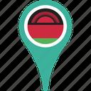 flag, malawi, malawi flag pin, map, pin icon