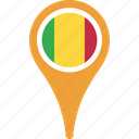 flag, mali, mali flag pin, map, pin icon