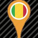 flag, mali, mali flag pin, map, pin icon