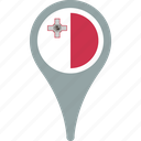 circle, country, flag, malta, map, pin icon