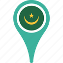 country, flag, map, mauritania, pin icon