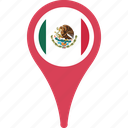 country, flag, map, mexico, pin icon