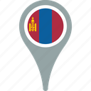 country, flag, map, mongolia, pin icon