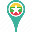 country, flag, location, map, myanmar, pin icon