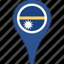country, flag, map, nauru, pin icon