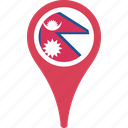 country, flag, flags, map, nepal, pin icon
