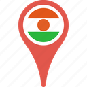 country, flag, map, niger, pin icon
