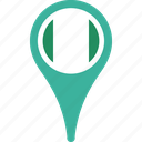 flag, map, nigeria, nigeria flag pin, pin icon