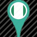 flag, map, nigeria, nigeria flag pin, pin icon