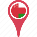 country, flag, map, oman, pin icon