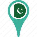 flag, pakistan, country, flags, map, pin