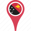 country, flag, guinea, map, new, papua, pin icon