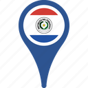 flag, map, paraguay, paraguay flag pin, pin icon