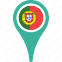 flag, map, pin, portugal, portugal flag pin icon