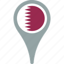flag, qatar, country, map, pin
