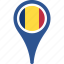 flag, romania, map, location, pin, country
