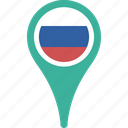 country, flag, map, pin, russia icon