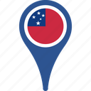 country, flag, map, pin, samoa icon