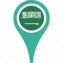 arabia, country, flag, map, pin, saudi icon