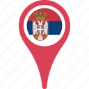country, flag, map, national, pin, serbia icon