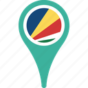 country, flag, map, pin, seychelles icon