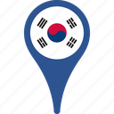 country, flag, gps, korea, location, national, south icon