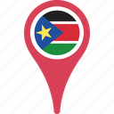 country, flag, pin, south, sudan, world icon
