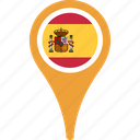 flag, spain, country, flags, map, pin