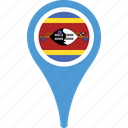 country, flag, location, map, pin, swaziland icon