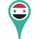 flag, syria, country, flags, map, pin