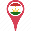 flag, flags, map, tajikistan, tajikistan flag pin icon