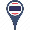 flag, thailand, country, flags, map, pin