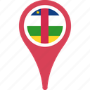 african, central, country, flag, map, pin, republic, the icon