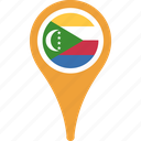 comoros, country, flag, map, pin, the icon
