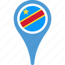 congo, country, democratic, flag, map, of, pin, republic, the icon