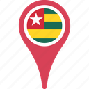 flag, togo, country, flags, map, pin