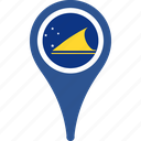 country, flag, map, pin, tokelau icon