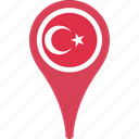 flag, turkey, country, map, pin