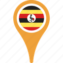 country, flag, map, pin, uganda icon