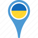 flag, ukraine, country, flags, location, map, pin