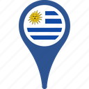 flag, flags, map, pin, uruguay icon