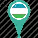 country, flag, map, pin, uzbekistan icon