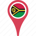 country, flag, map, pin, vanuatu icon