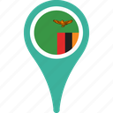 country, flag, location, map, pin, zambia icon