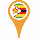 flag, zimbabwe, country, flags, map, pin