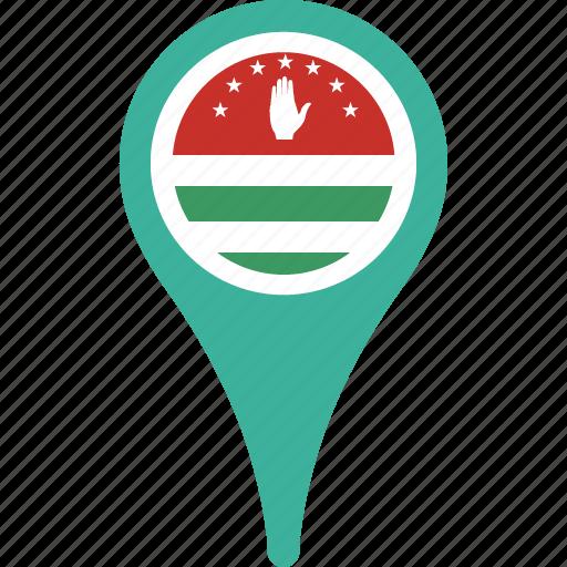 abkhazia, country, flag, map, pin icon