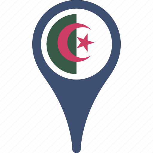 algeria, country, flag, flags, map, pin icon