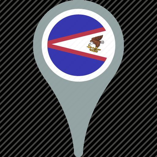 american, country, flag, map, pin, samoa icon